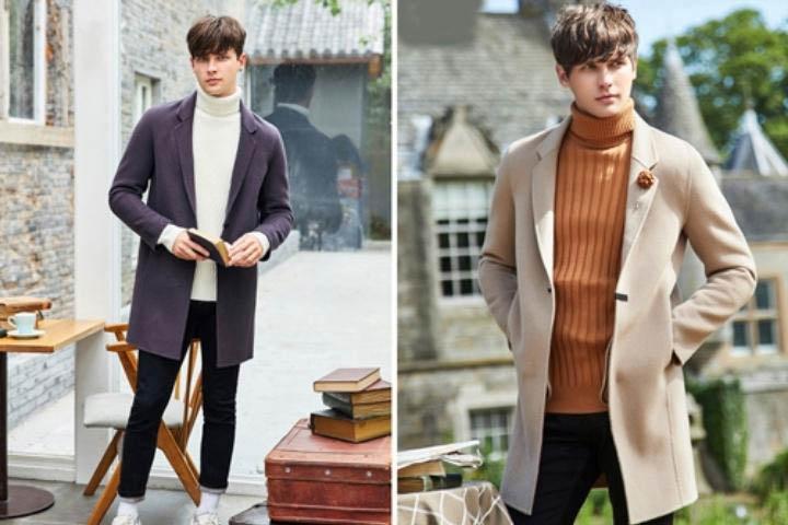 Áo len cao cổ mix với áo khoác dạ