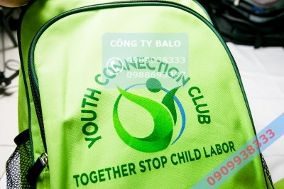 May balo học sinh Young Connection Club mặt in